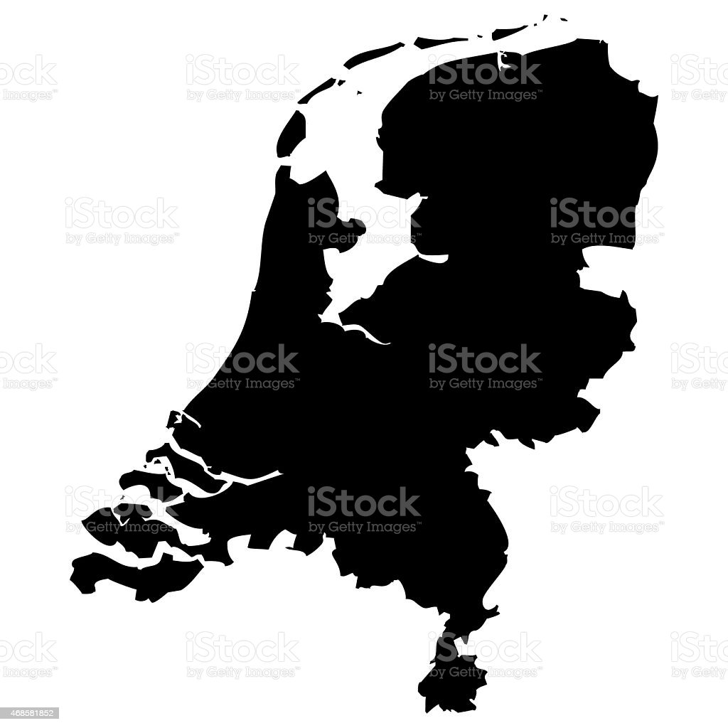 Black and white map of Netherlands vector art illustration