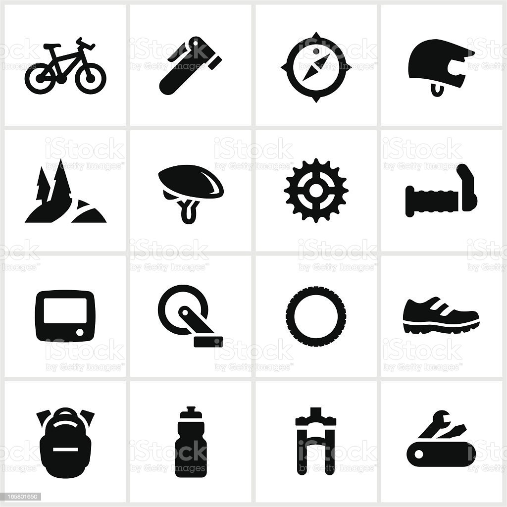 Black and white mountain biking icons vector art illustration