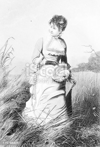 circa 1884, Golden Gift ENGRAVINGS OF WOMEN AND GIRLS IN TRADITIONAL DRESS AND POSES