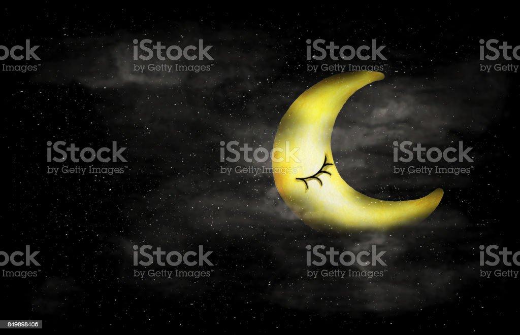 Siyah Ve Beyaz Hilal Ay Yuz Ve Yildiz Suluboya Soyut Leke Gece