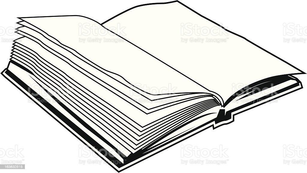 Ilustración De Libro Abierto Blanco Y Negro Y Más Banco