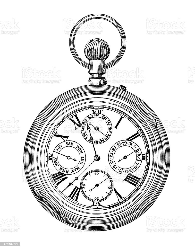Black and white pen and ink drawing of antique pocket watch royalty-free stock vector art