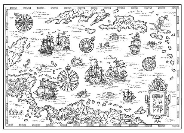 Black and white pirate map of the Caribbean Sea with old ships, islands and fantasy creatures Pirate adventures, treasure hunt and old transportation concept. Hand drawn illustration, vintage background adventure borders stock illustrations