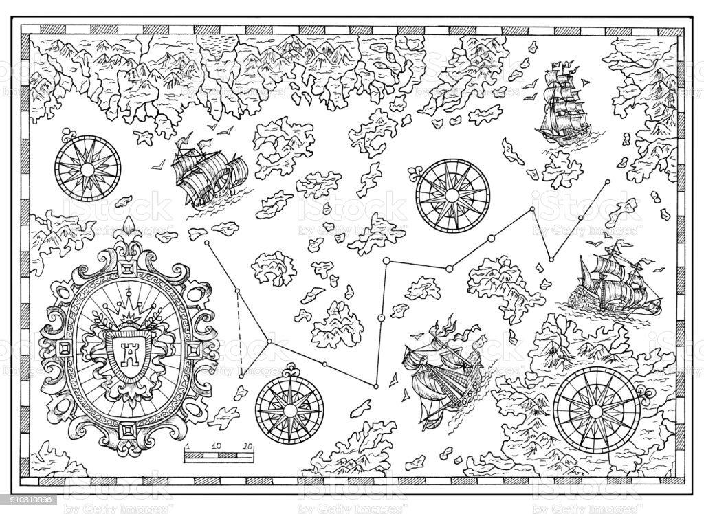 Carte Au Tresor Noir Et Blanc.Carte Au Tresor Pirate Noir Et Blanc Avec Des Elements De
