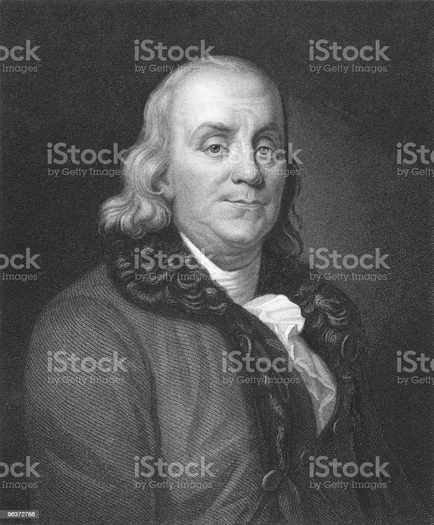 A black and white portrait of Benjamin Franklin royalty-free stock vector art