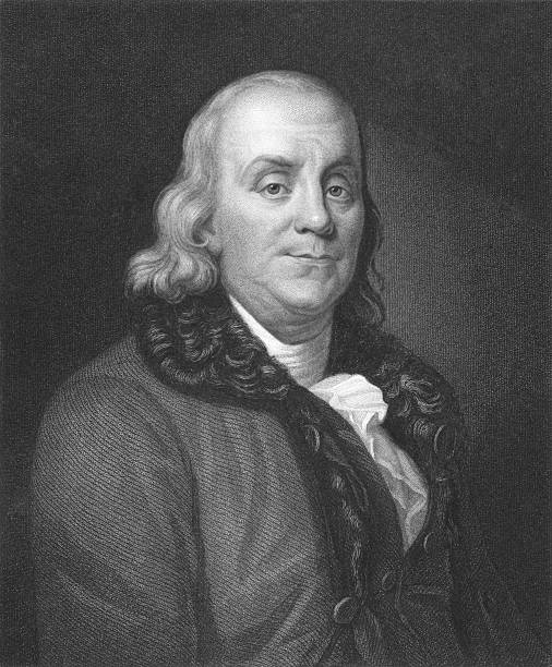 A black and white portrait of Benjamin Franklin Benjamin Franklin on engraving from the 1850s. One of the founders of the United States of America. Engraved by J. Thomson and published in London by Charles Knight, Ludgate Street & Pall Mall East. benjamin franklin stock illustrations