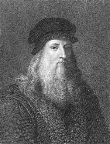 Black and white portrait of Leonardo Da Vinci