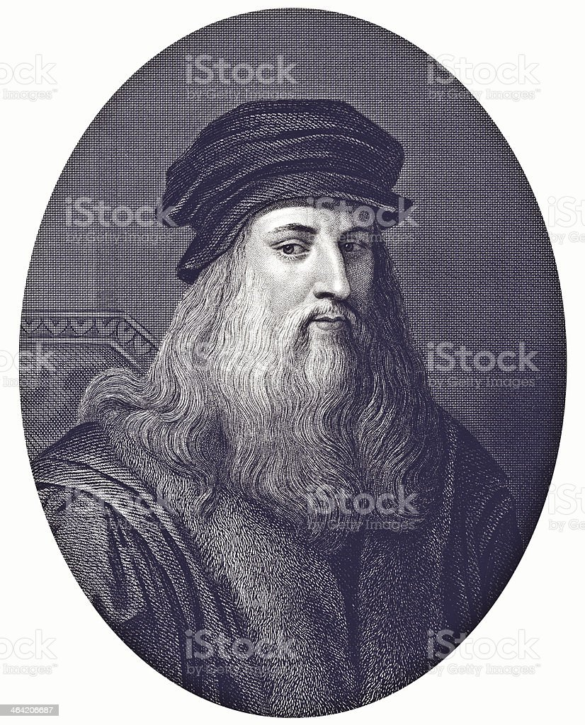 Black and white print portrait of Leonardo da Vinci royalty-free stock vector art