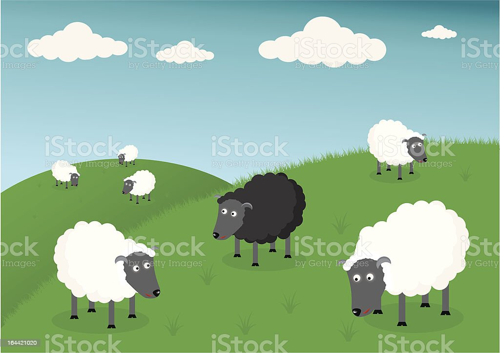 Black and white sheep vector art illustration