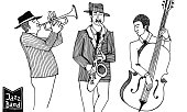 Black and white sketch of jazz band. Jazz Men in a striped jacket plays on the musical instruments.