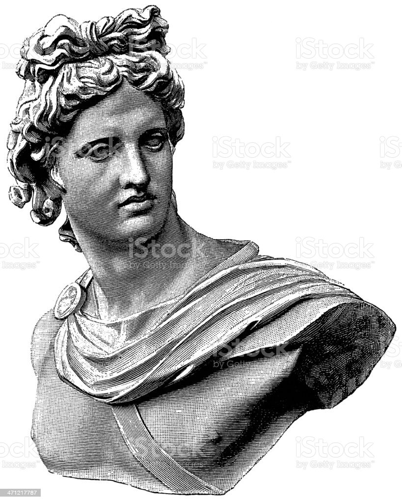 A black and white sketch of the Apollo Belvedere statue vector art illustration