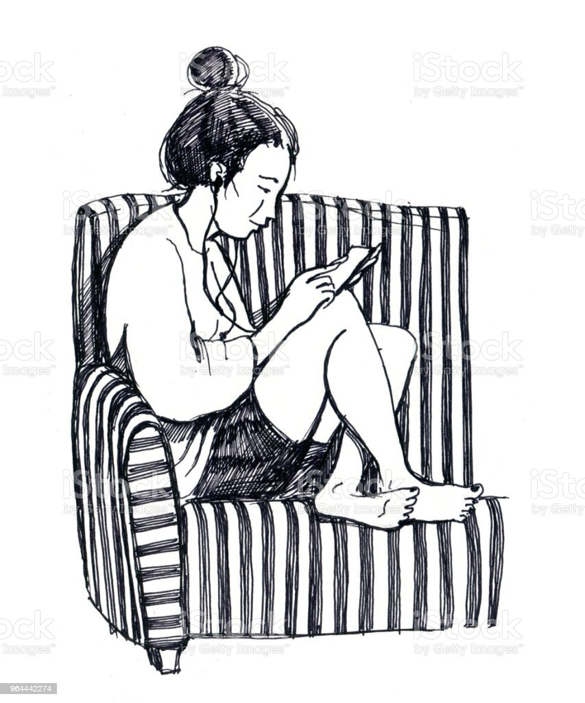 Prime Black And White Sketch Of The Girl With Smart Phone Sits On Pdpeps Interior Chair Design Pdpepsorg