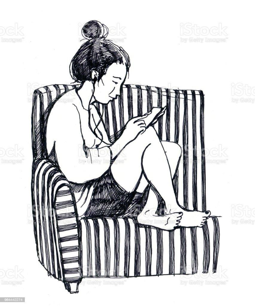 desenho preto e branco da menina com telefone inteligente senta-se sobre a cadeira borefoot - Ilustração de Abstrato royalty-free