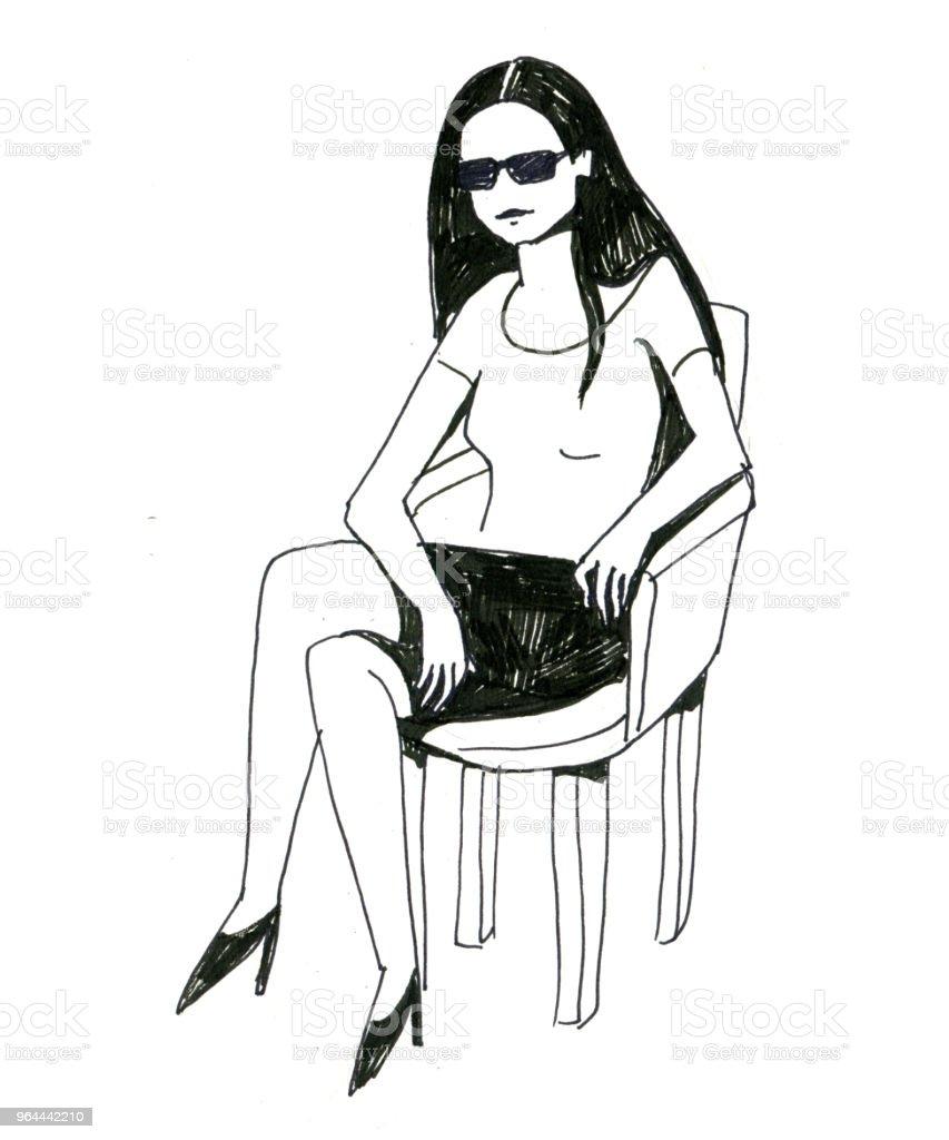 zwart-wit schets van het meisje met zonnebril zit op de stoel en glimlachen - Royalty-free Abstract Stockillustraties