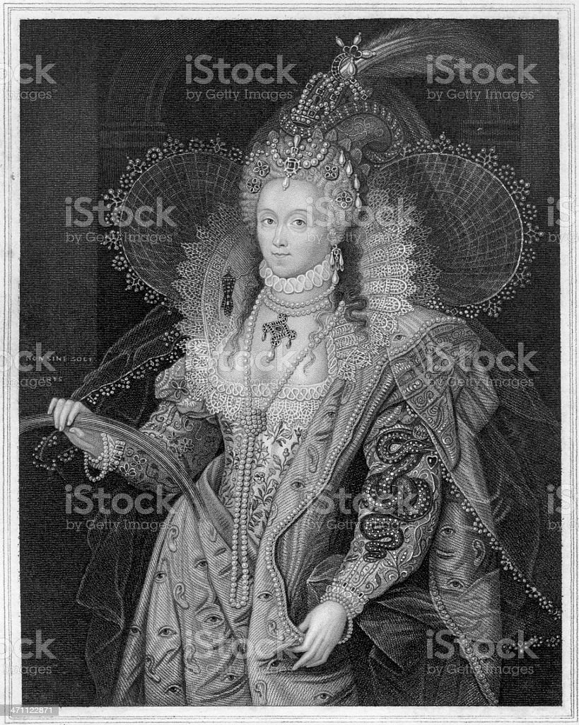 Black and white vintage portrait of Queen Elizabeth I royalty-free stock vector art