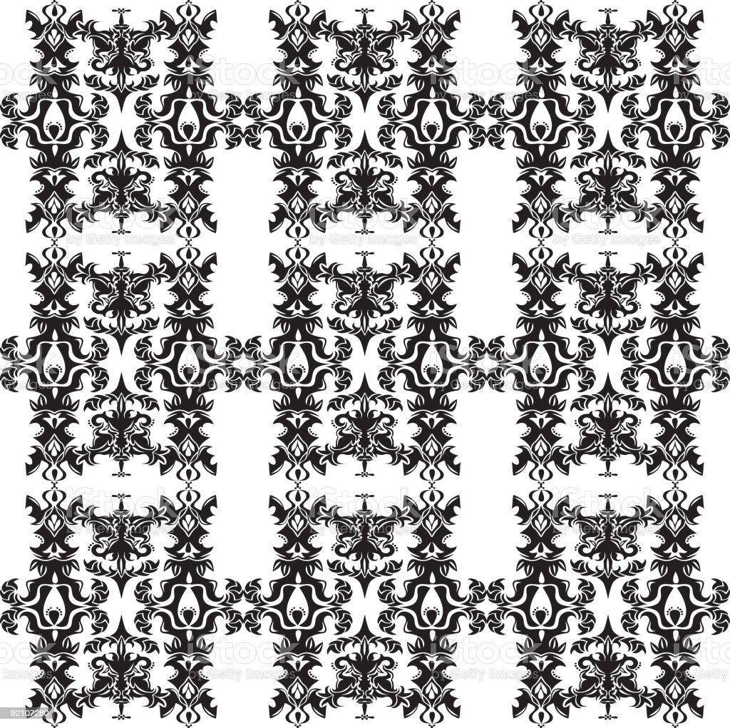 Black and White Wallpaper (Seamless) royalty-free black and white wallpaper stock vector art & more images of antique