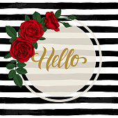 black and white watercolor striped background with Hand drawn lettering hello. design holiday greeting card and invitation of wedding, Happy mother day, birthday, Valentine s day and seasonal holiday