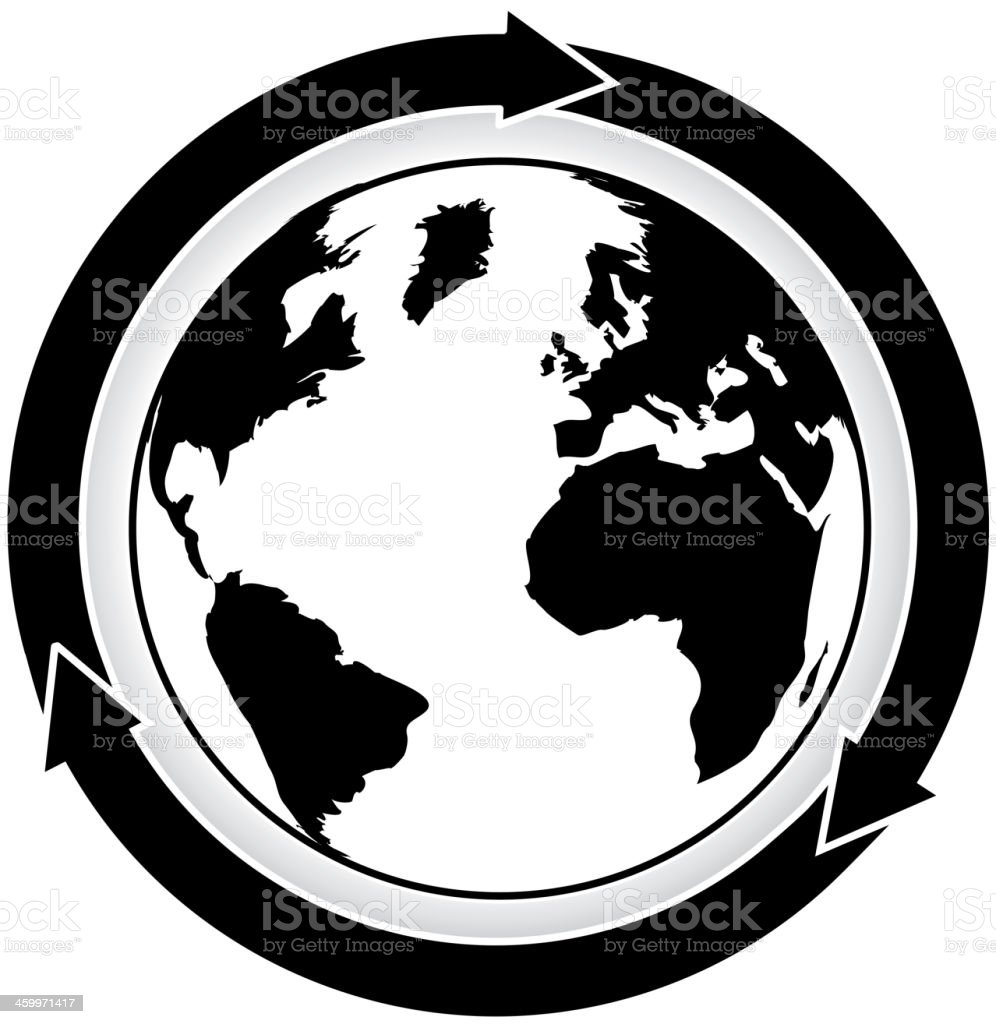 Black and white world map with three cycle arrows stock vector art black and white world map with three cycle arrows royalty free black and white world gumiabroncs Gallery