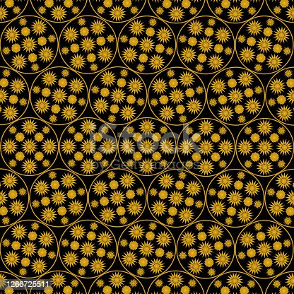 black and yellow colored geometric shapes, textile seamless pattern. Vector illustration