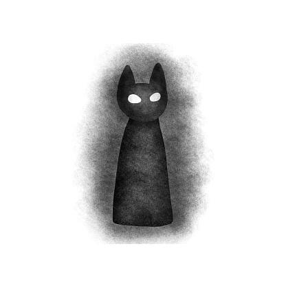 Black angry cat eyes dark chalk illustration
