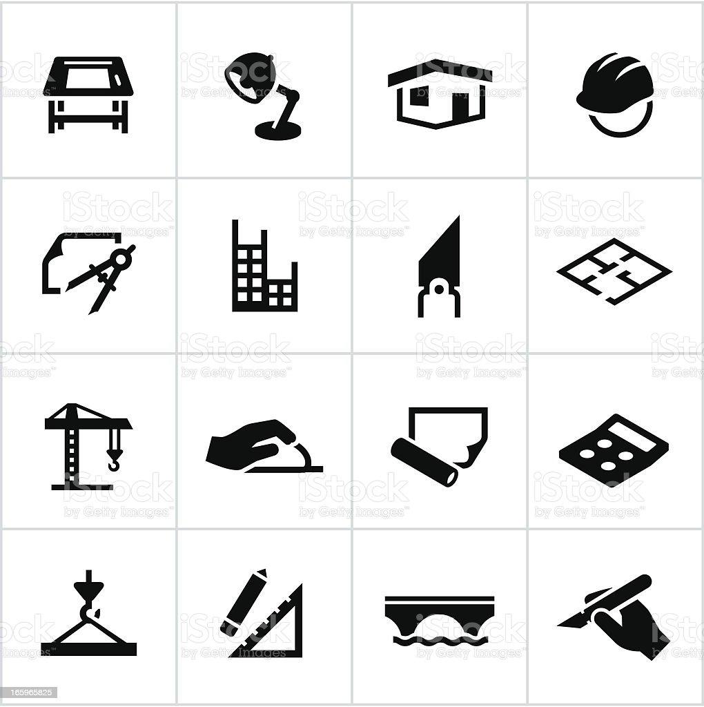 Preto arquitetura e Design ícones - ilustração de arte em vetor