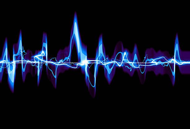 Black background with an electric blue waveform vector art illustration