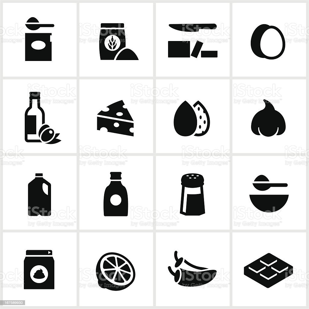 Black Baking and Cooking Ingredients Icons vector art illustration