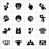 Basketball related icons. All white strokes/shapes are cut from the icons and merged allowing the background to show through.