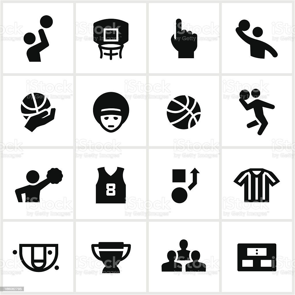 Black Basketball Icons vector art illustration