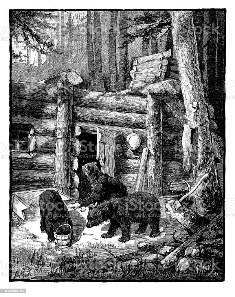 Black bears ransacking log cabin in the forest vector art illustration