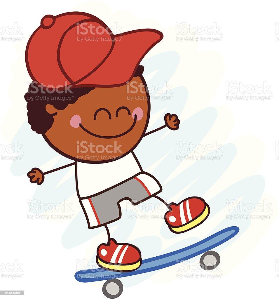 Garçon En Dessin Animé De Skate Noirillustration Stock Vecteur
