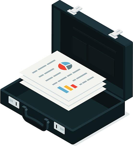 stockillustraties, clipart, cartoons en iconen met black briefcase with business documents - attaché