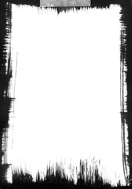 ilustrações, clipart, desenhos animados e ícones de preto com pinceladas quadro - texturas desgastadas