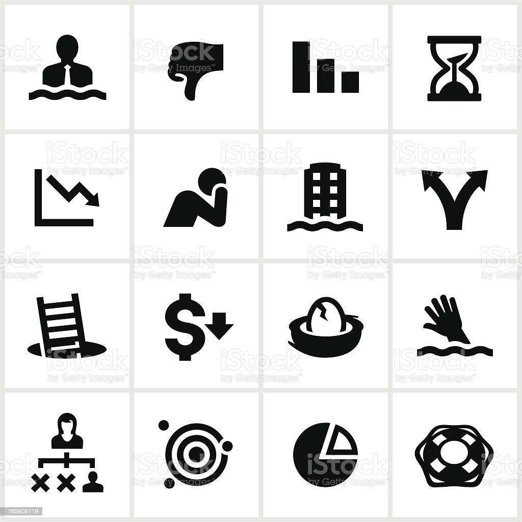 Black Business Failure Icons vector art illustration