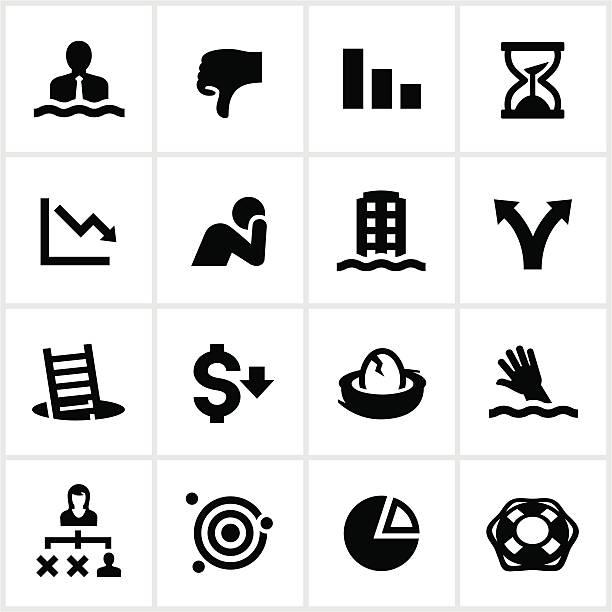 ilustraciones, imágenes clip art, dibujos animados e iconos de stock de insuficiencia de negocios iconos negro - bancarrota