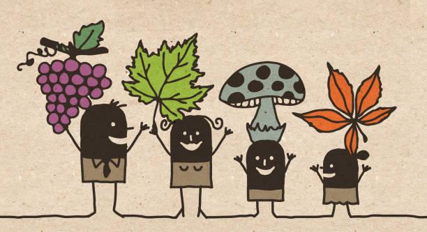bildbanksillustrationer, clip art samt tecknat material och ikoner med svart tecknad familj-höst plockning - höst plocka svamp
