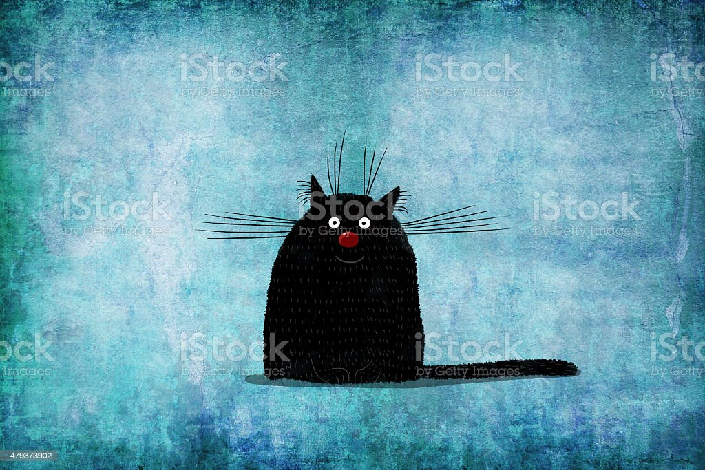 Black Cat on Background Painted Wall vector art illustration