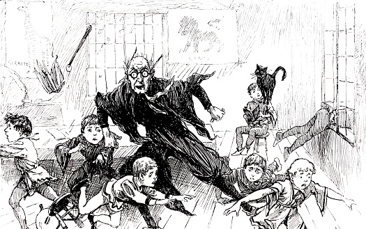Black cat scares teacher and students in the classroom