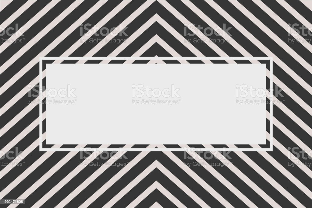 Black chevron stripe pattern with text frame for background vector art illustration