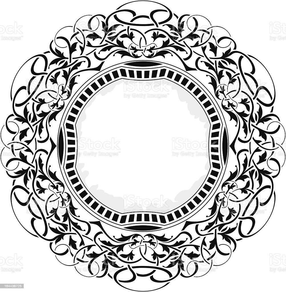 Black circle frame with ornamental border royalty-free stock vector art