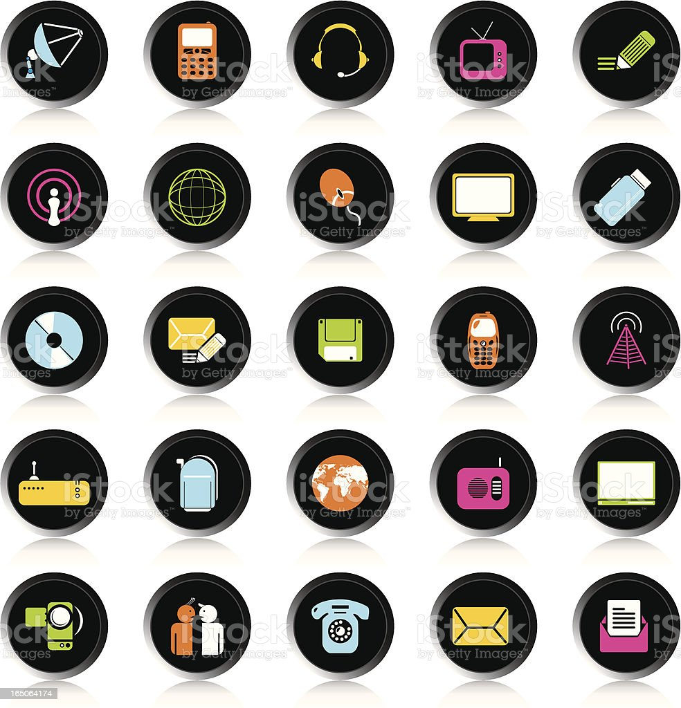 Black Colorful Communication Icons royalty-free stock vector art