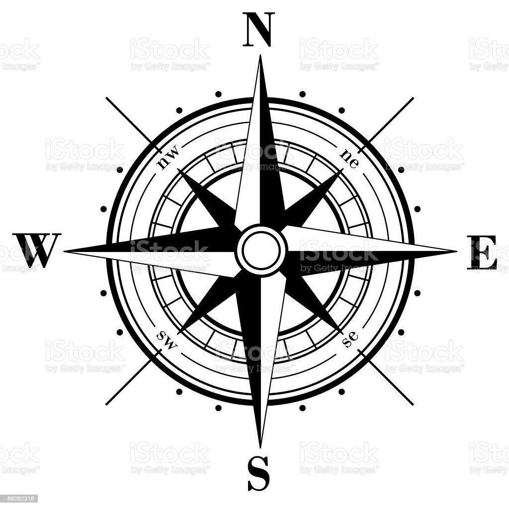 Black compass rose vector art illustration