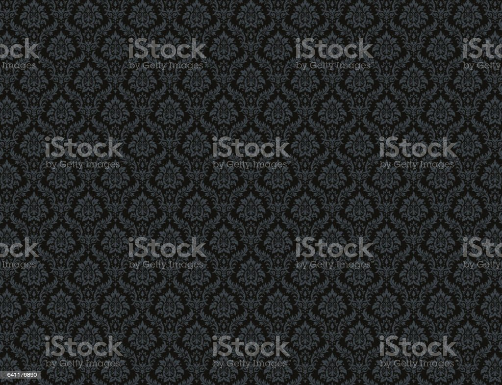 Black damask pattern background vector art illustration