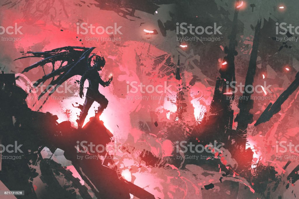 black devil standing on ruins of building against burning city vector art illustration