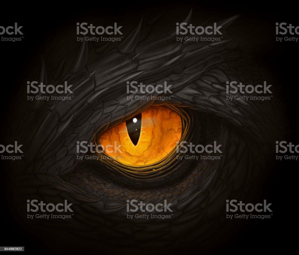 Oeil de dragon noir - Illustration vectorielle