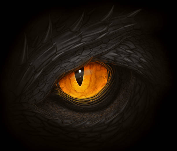 black dragon eye - reptiles stock illustrations