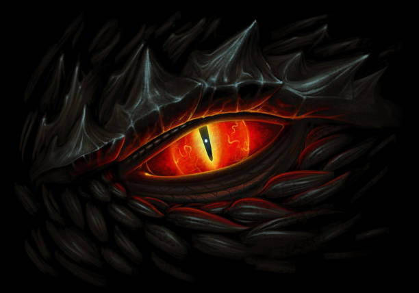 illustrations, cliparts, dessins animés et icônes de œil de feu dragon noir - dragon