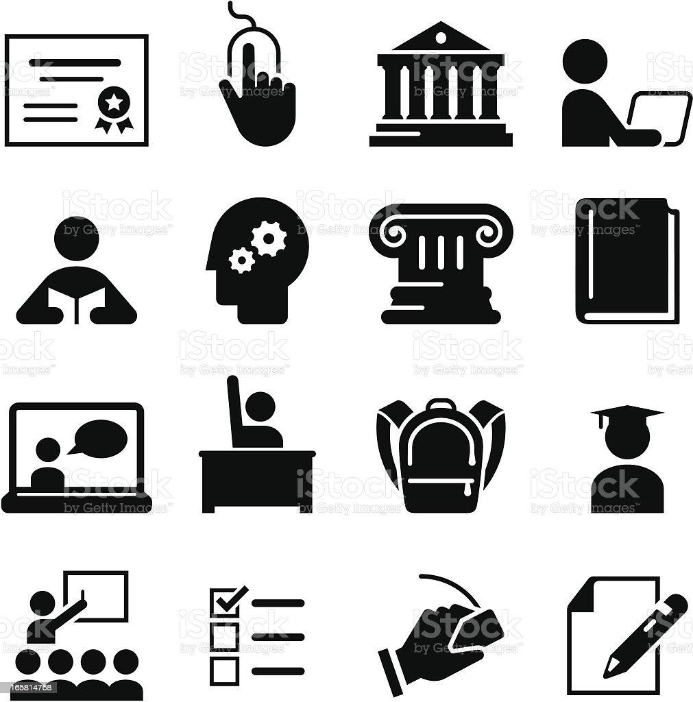 Schwarz Bildung icons auf weißem Hintergrund – Vektorgrafik