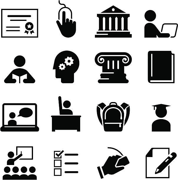 Black education icons on white background Online learning and education icon set. Professional icons for your print project or Web site. See more in this series. campus stock illustrations