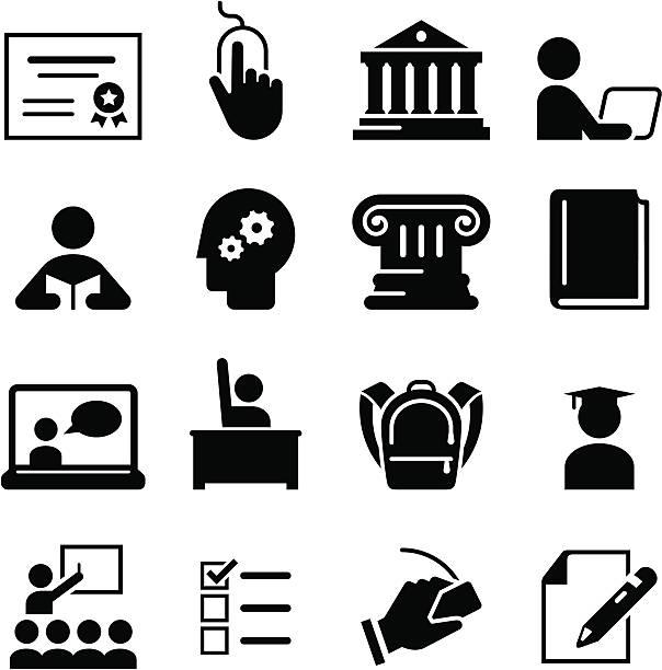 illustrazioni stock, clip art, cartoni animati e icone di tendenza di nero istruzione icone su sfondo bianco - esame università